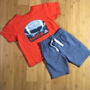 Adidas tee & Carter's grey pull-on shorts 4/4t